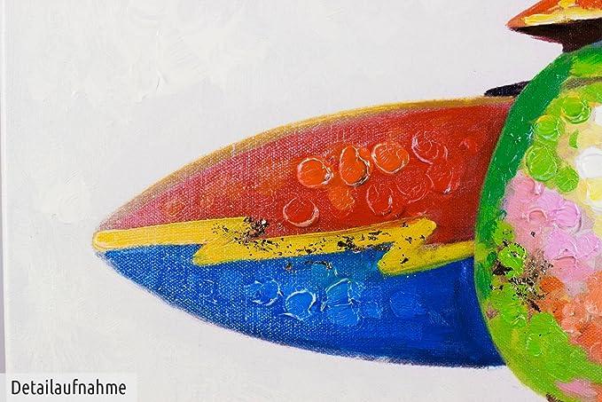 KunstLoft® cuadro acrílico Surfers Paradise 50x50cm | Original pintura XXL pintado a mano en lienzo | Animales pingüino surfista de colores | Mural ...