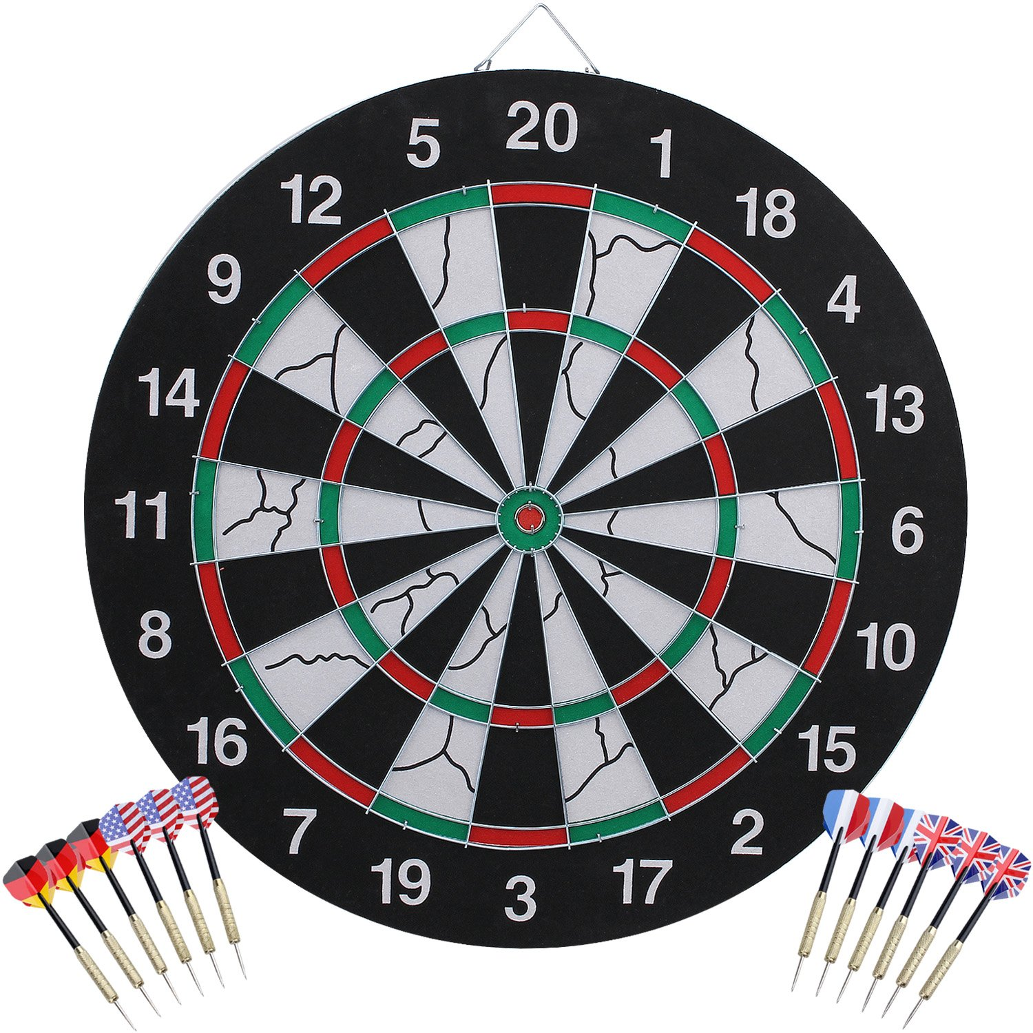 Kingstar Double-Sided Steel Tip Dart Board Set, Professional Home Dartboard Kit Game Flocking Dart Board Bristle Dartboards with 12 Brass Darts (Multicolor) by Kingstar