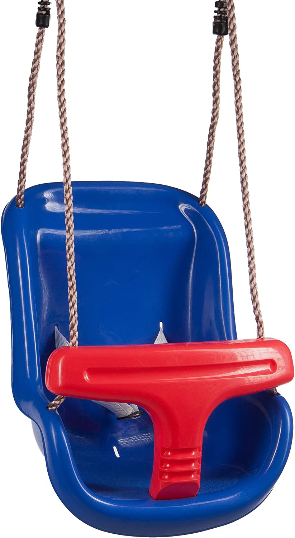 Ultrakidz Asiento de columpio Basic para bebé con estribo de protección y cinturón, columpio para bebés, Azul/Rojo