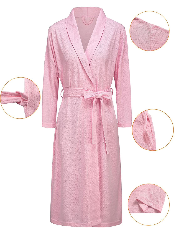 26067b8322 Vraquir Womens Waffle Bathrobe 3 4 Long Sleeves Kimono Lightweight Pajamas  Loungewear Summer Hotel Spa Robe with Belt at Amazon Women s Clothing store
