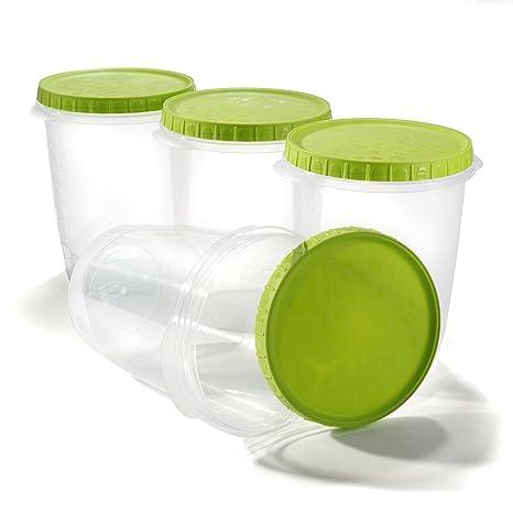 Contenedor para almacenar alimentos con tapa, cereal Almacen Cajas microondas - Paquete 4 - 1L