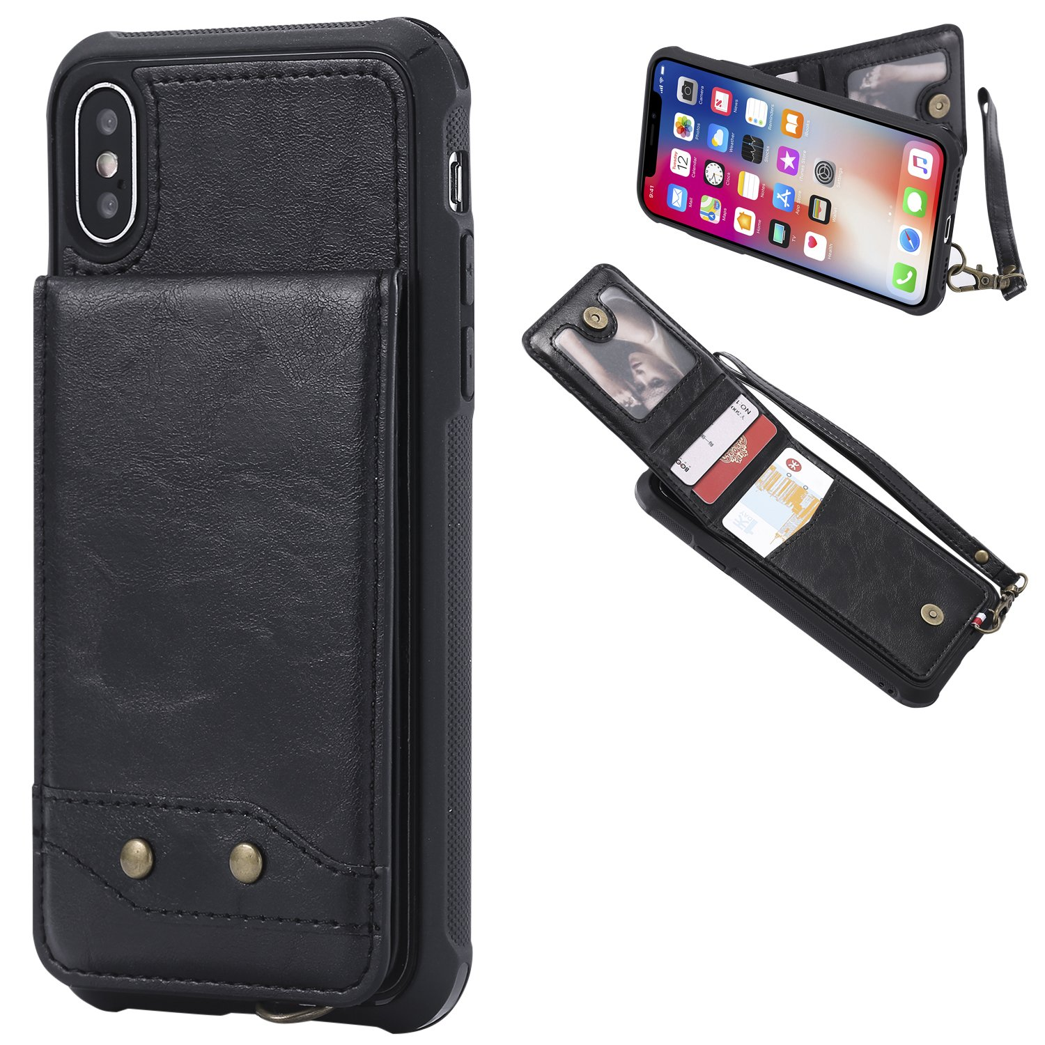 DAMONDY iPhone X Case, Luxury Wallet Purse Card Holders Design Cover Soft Shockproof Bumper Flip Leather Kickstand Magnetic Clasp With Wrist Strap Case for Apple iPhone X (2017)-black