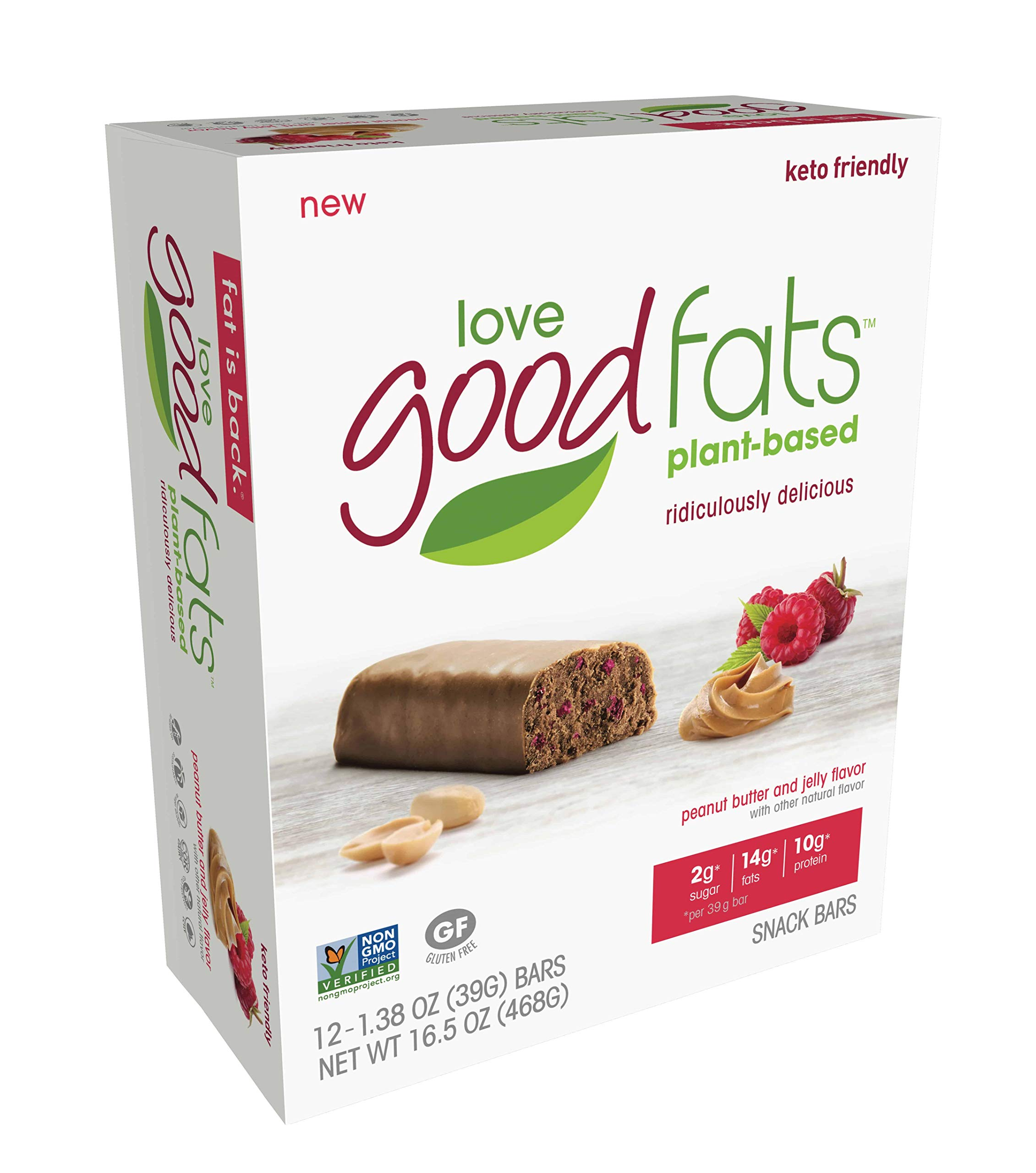 Love Food Fats - Plant Based Bars - Peanut Butter & Jelly - Vegan, Keto Friendly, Low Carb, Low Sugar, Gluten-Free, Non GMO - 1.38 Ounce (12 Pack) by love good fats (Image #2)