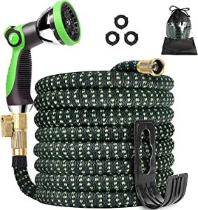 Expandable Garden Hose 25 ft, 2021 Upgraded No Kink Expanding Water Hose, Kink Free Garden Hose with 10 Auto Function Spray Nozzle, Leakproof 3/4