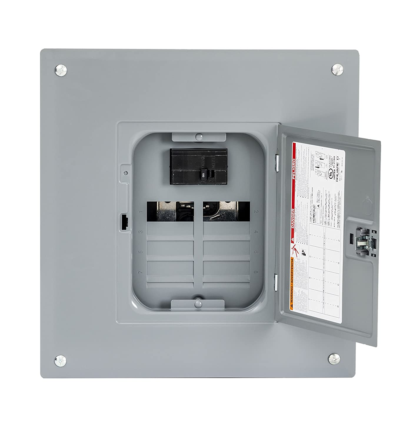 Square D by Schneider Electric HOM816M100PC Homeline 100 Amp 8-Space 16-Circuit Indoor Main Breaker Load Center with Cover (Plug-on Neutral Ready),