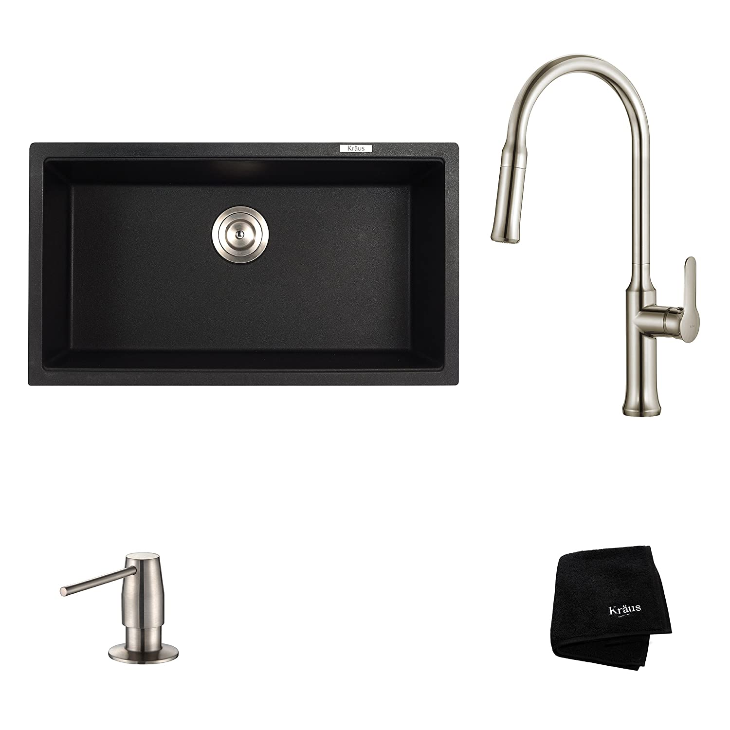 Kraus KGU-413B-1630-42SS Modern Undermount Single Bowl Sink with Pull Down Faucet SD Stainless Steel 31