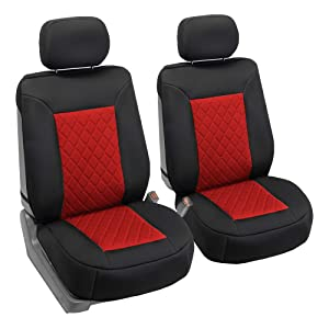 FH Group FB088102 Neosupreme Car Seat Cushion Deluxe Quality, Water Resistant, Non-Slip Backing, Easy Installation, Red/Black Color - Fit Most Car, Truck, SUV, or Van