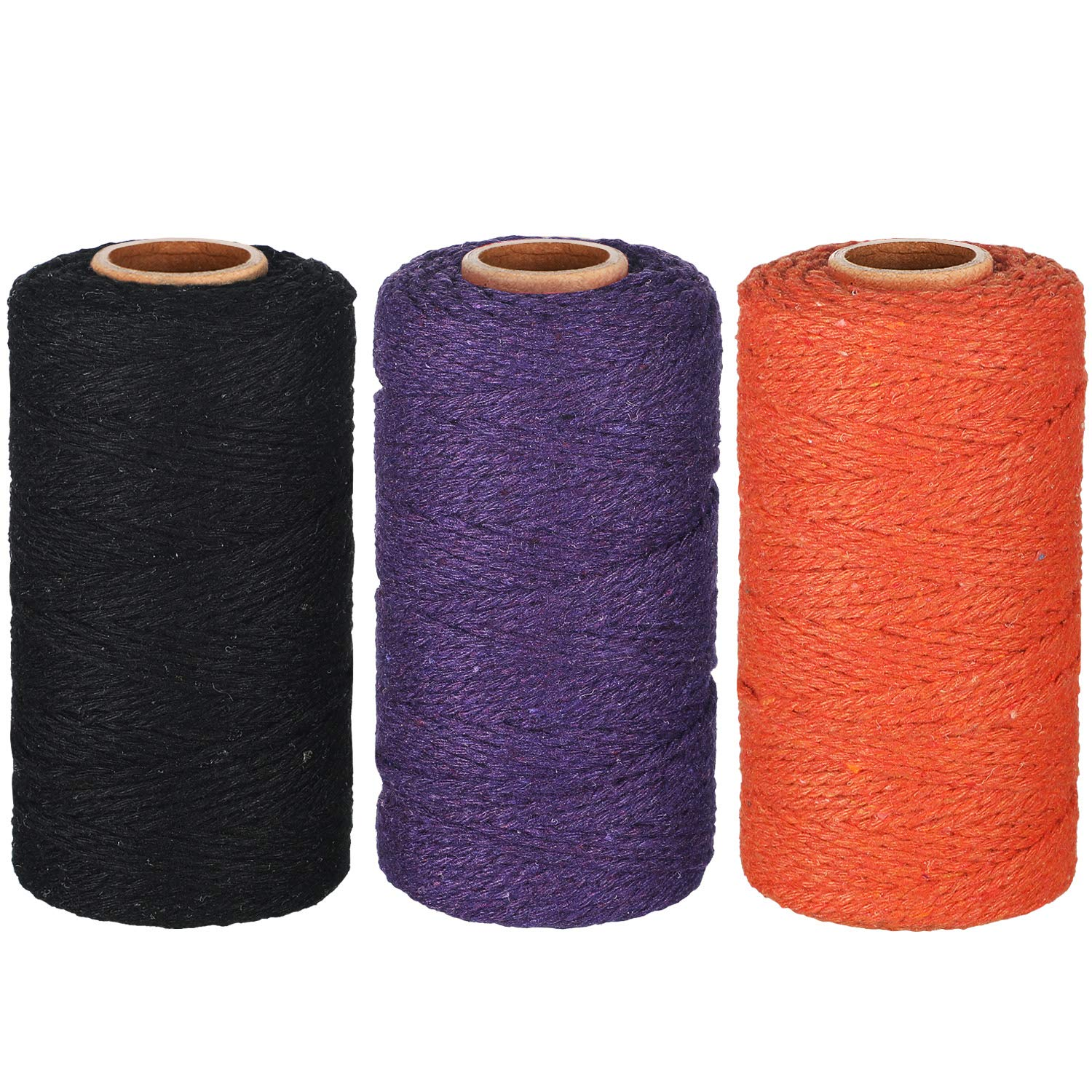 984 Feet Cotton Baker Twine 2 mm Halloween Valentine's Day Christmas Wrapping String Rope for DIY Craft (Black, Orange, Purple) by Pangda