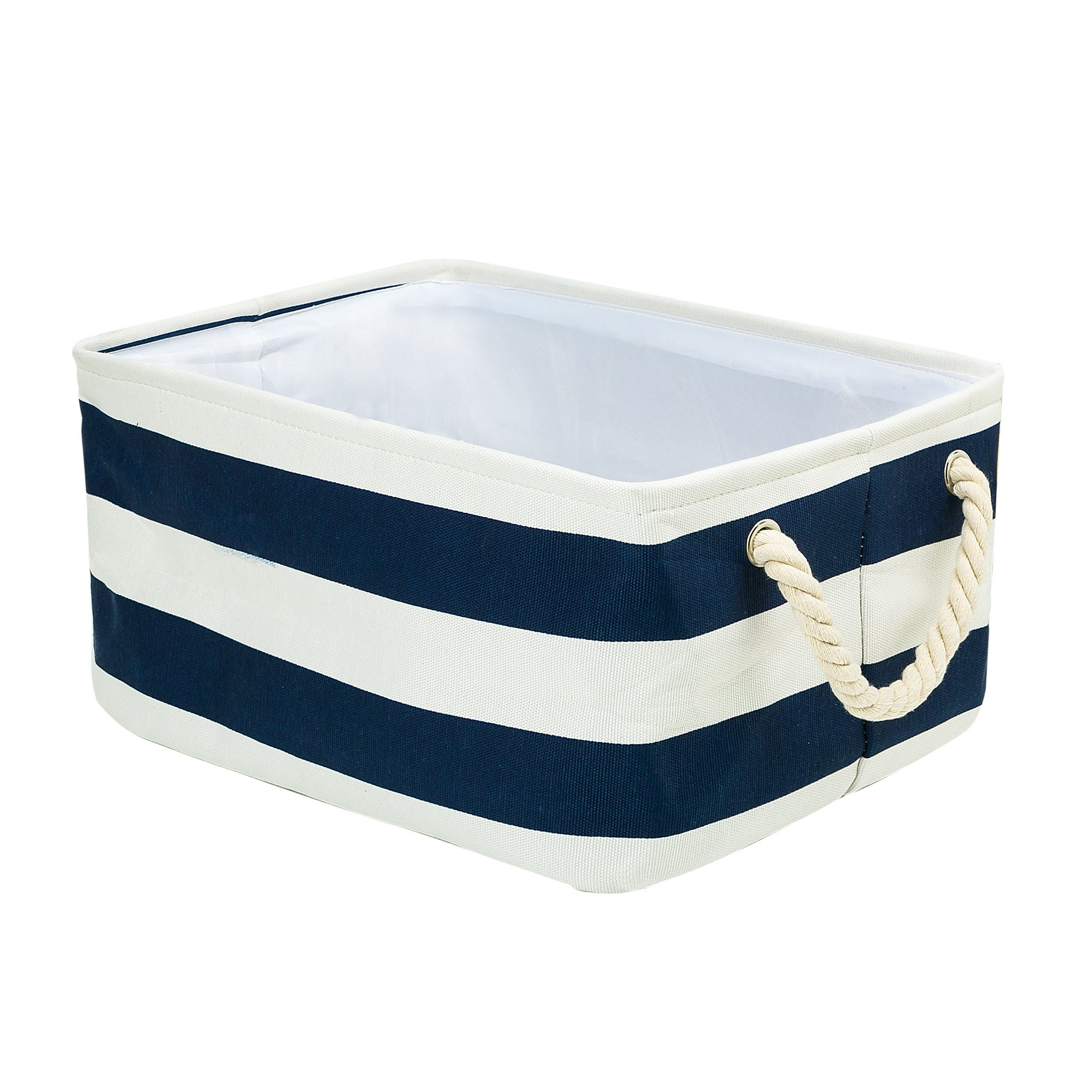 Storage Bin, Zonyon 15.7''L Rectangular Collapsible Linen Foldable Storage Container,Baby Basket,Hamper Organizer with Rope Handles for Boys,Girls,Kids,Toys,Office,Bedroom,Closet,Gift Basket,Blue