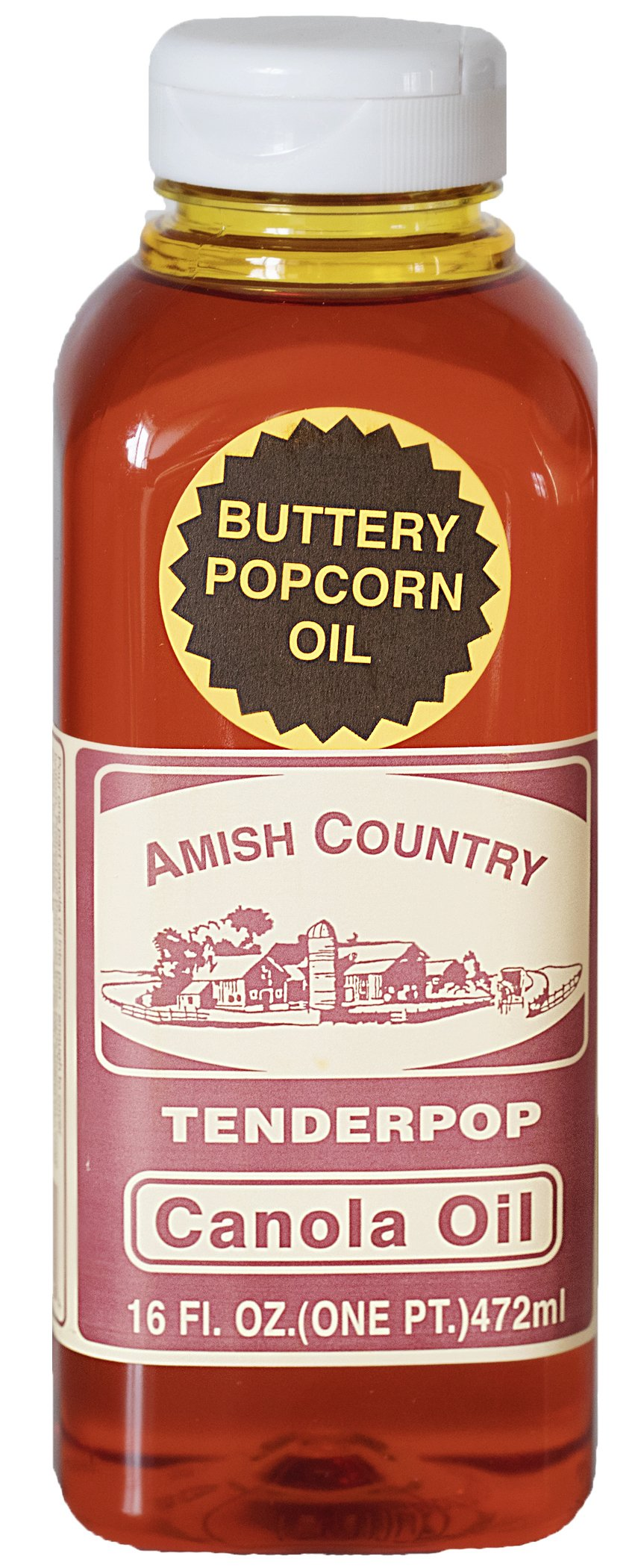 Amish Country Popcorn - Canola Oil - 16 fl oz with Recipe Guide - Old Fashioned, Non GMO and Gluten Free - 1 Year Freshness Guarantee