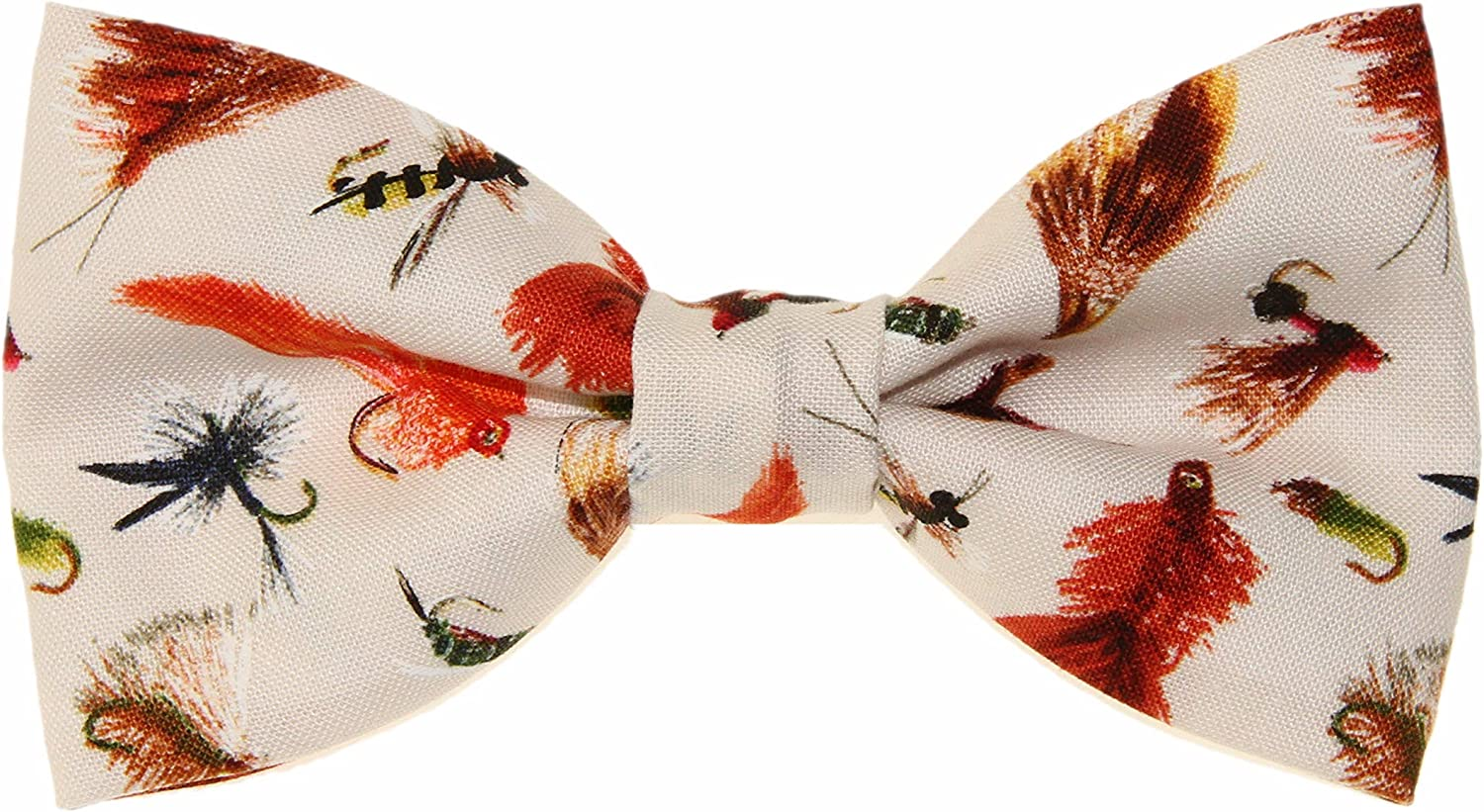 Mens Cream With Fishing Lures Baits Clip On Cotton Bow Tie Bowtie by amy2004marie