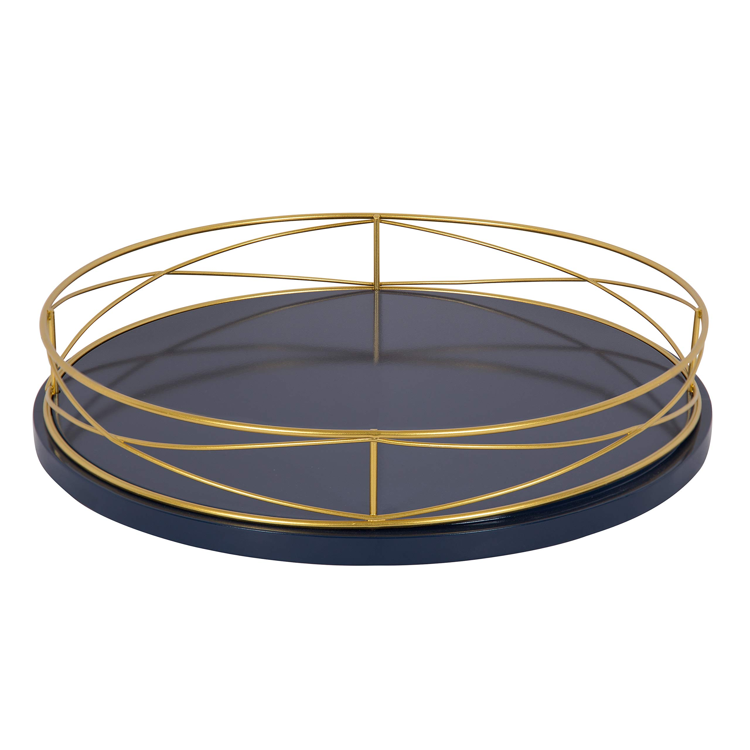 Kate and Laurel Mendel 14 Inch Round Tray with Decorative Metal Rim, Navy Blue and Gold by Kate and Laurel