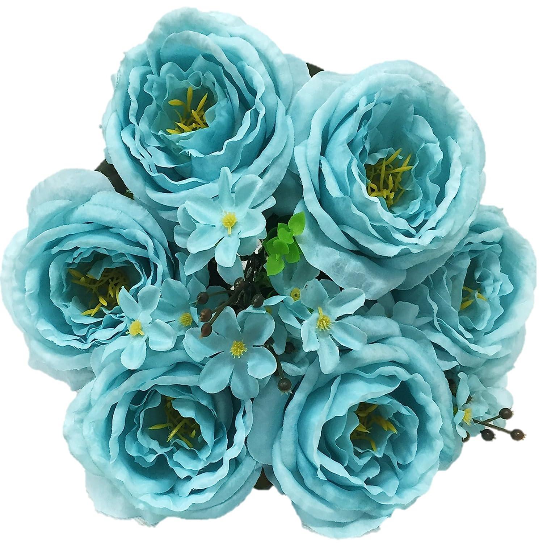 Amazon Silk Flower Garden Artificial English Rose Bouquet 15