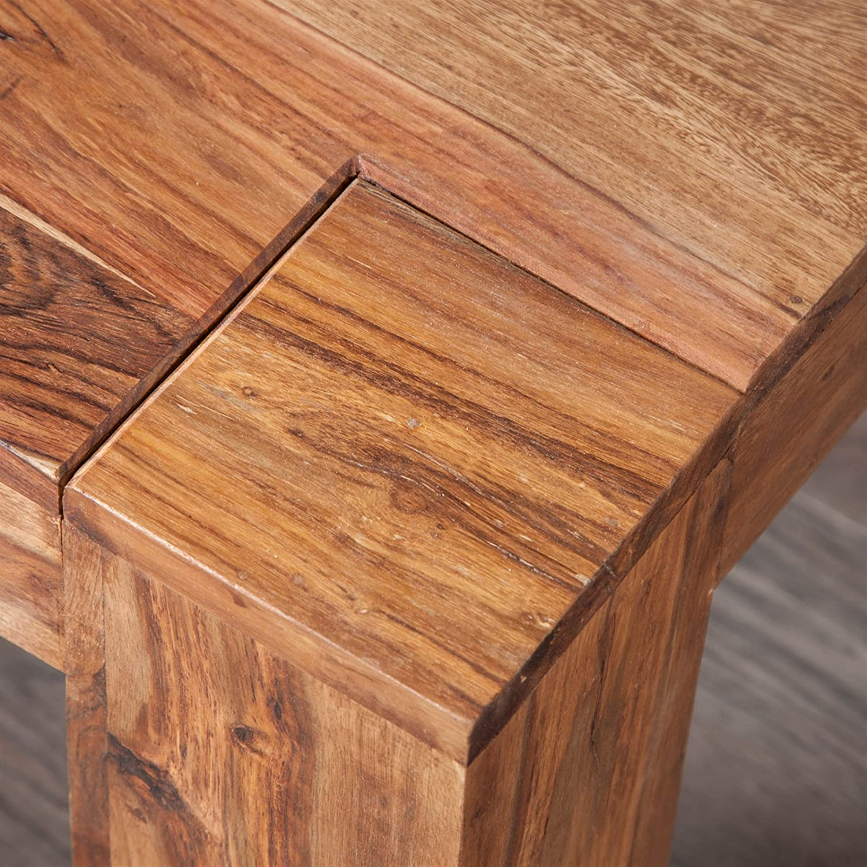 table de salon pi/èce unique TABLE BASSE MASSIV BAHIA I 60 x 60 cm brun bois de sheesham