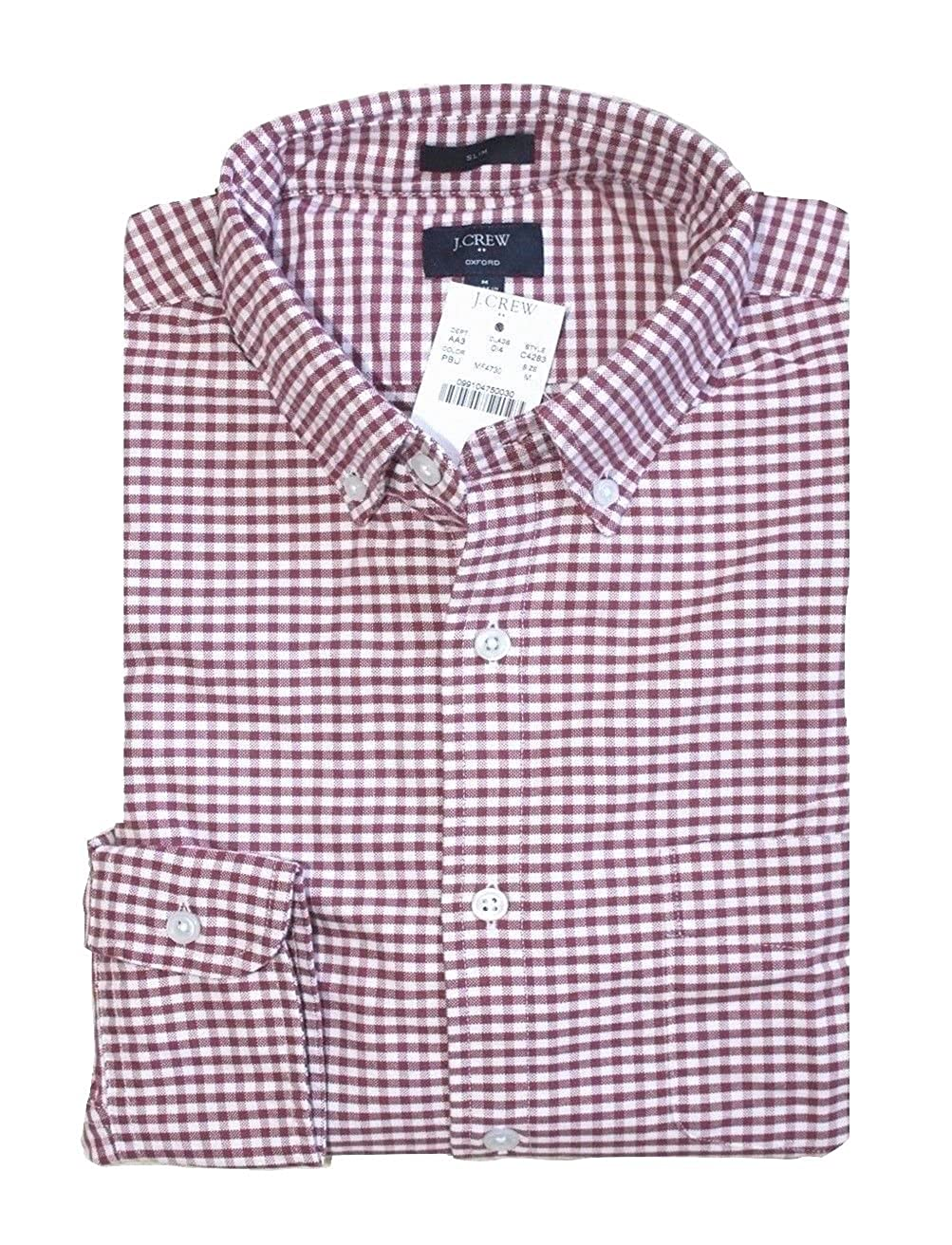 J Crew Factory Gingham Plaid Oxford Shirt Mens Slim Fit
