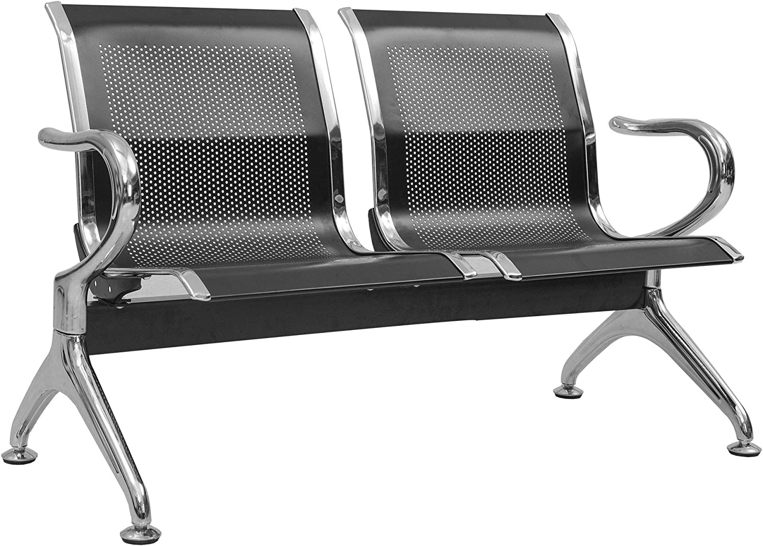 Reception Chair Waiting Room Chair with Arms Reception Bench for Business, Office, Hospital,Airport (Black, 2 Seats)