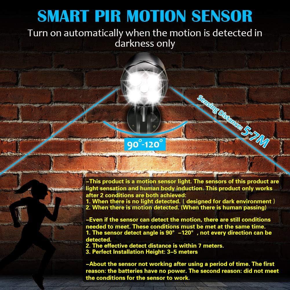 Calzada Entrada 600lm Foco LED Detector de Movimiento Exterior Patio CrazyFire IP65 Impermeable L/ámpara de Seguridad a Bater/ía Funciona con Pilas Flexibles Detector de Movimiento para Jard/ín