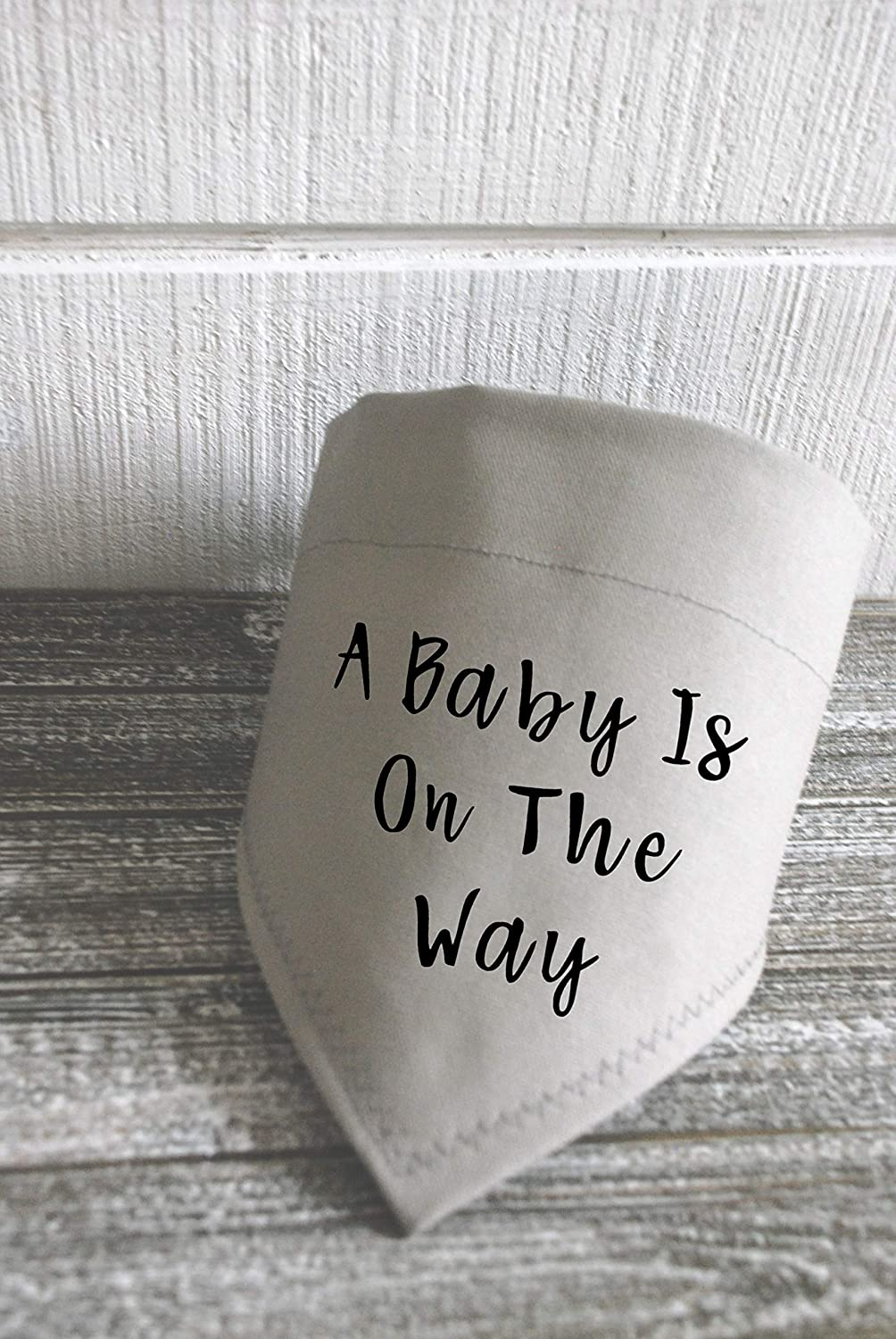 Dog Bandana Over the Collar A Baby is on the Way Grey and Black Canvas