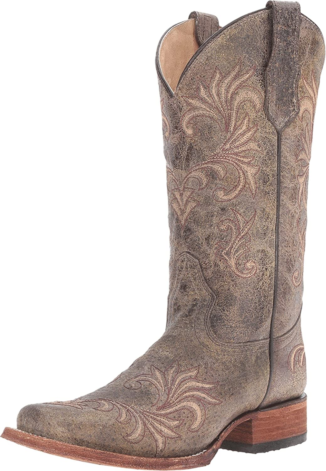 Corral Circle G Women's Square Toe Distressed Antique Green Leather Cowgirl Boots B01F31XVCO 5 B(M) US|Green/Beige