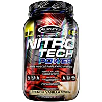 MuscleTech Nitro Tech Power Whey Protein Powder Musclebuilding Formula, French Vanilla Swirl, 2 Pounds