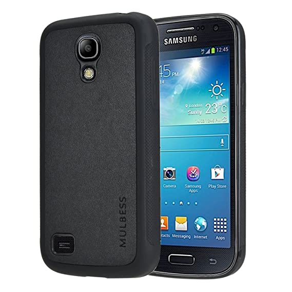 7076ceb78116 Galaxy S4 mini Case,Mulbess Slim Leather Back Case with Flexible TPU  Silicone [Textured Grip] Hybrid Cover for Samsung Galaxy S4 mini,Black