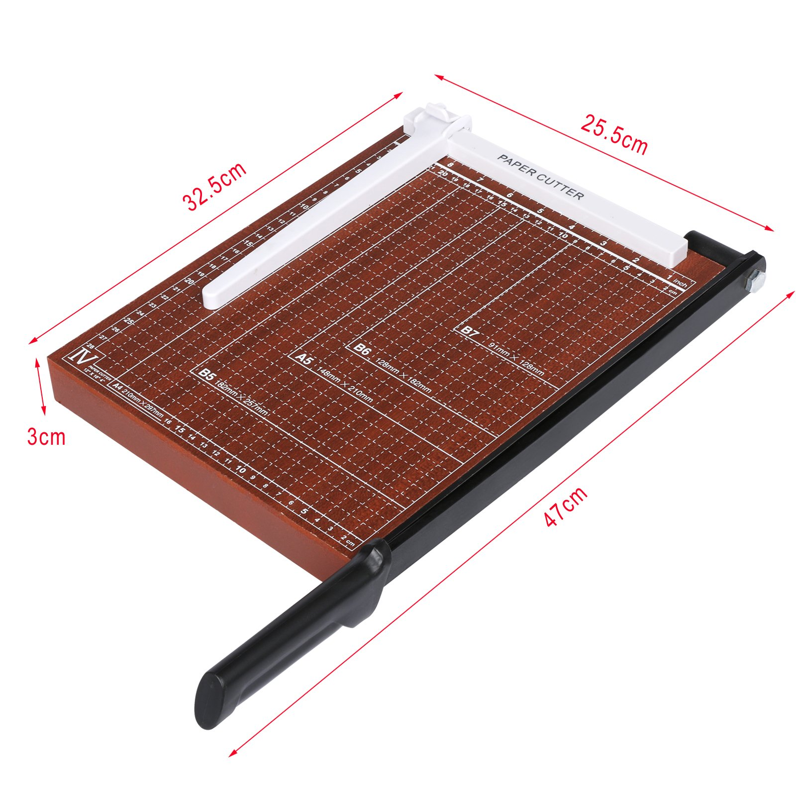 Heavy Duty A4, B5, A5, B6, B7 Guillotine Paper Cutter Home Office Professional Guillotine Trimmer Photo Paper Cutting Machine (Red-12.7 x 9.9 x 1.2inch) by Elopea (Image #3)