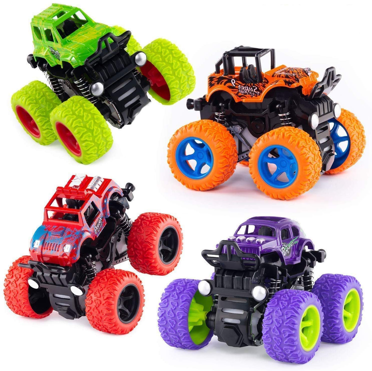 Push and Go Toy Trucks Friction Powered Cars 4 Wheel Drive Vehicles for Toddlers Children Boys Girls Kids Gift-4PCS