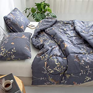 Floral Comforter Set Leaves and Butterfly Duvet Sets Yellow Birds and Blue Branches Plants Butterfly Printed Botanical Bedding Set Queen 3 Pieces with 1 Comforter 2 Pillowcases (Black, Queen)