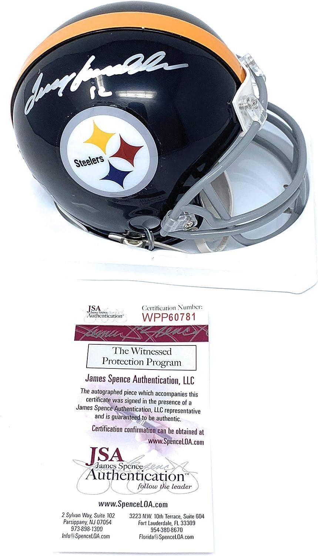 Terry Bradshaw Pittsburgh Steelers Signed Autograph Throwback Mini Helmet Bradshaw GTSM Player Hologram JSA Witnessed Certified