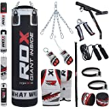 RDX 17 Piece Boxing Set 4FT 5FT Filled Heavy Punch Bag Gloves Bracket Chains MMA Punching Bags Training
