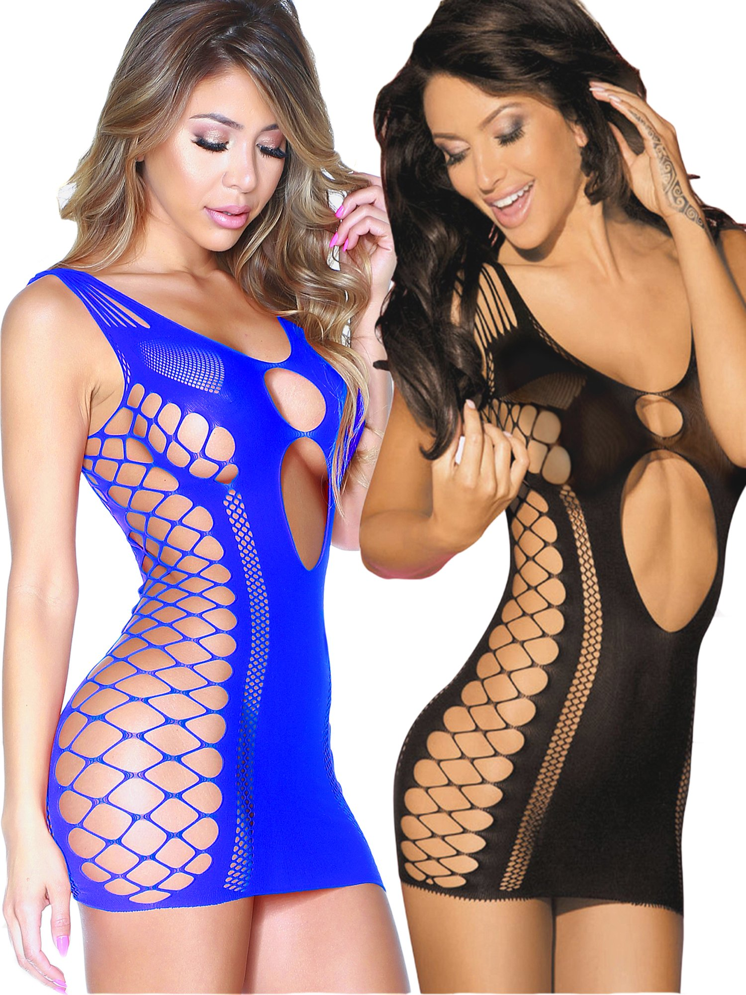 Beauty's Love Seamless Cut Out Fishnet Mini Dresses Chemise Lingerie for Women for Sex (Blueblack)