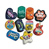 Holidays & Classroom Management Brag Tags Value Pack: 100 Tags (10 Tags for Each Shape) + 25 Chains