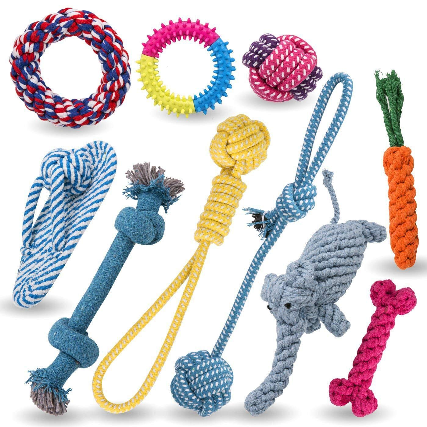 Dog  rope Chew Toys - 10 Set - Jekeno Dog Bones Ball Rope for Puppy Small  Dog