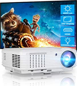 CAIWEI Video Projector LCD LED Multimedia HD Proyector 3900lumens Wxga 1280x800 Native Home Theater Cinema System 1080P HDMI USB Audio Compatile with Game Console Laptop PC DVD TV Box Outdoor Movies