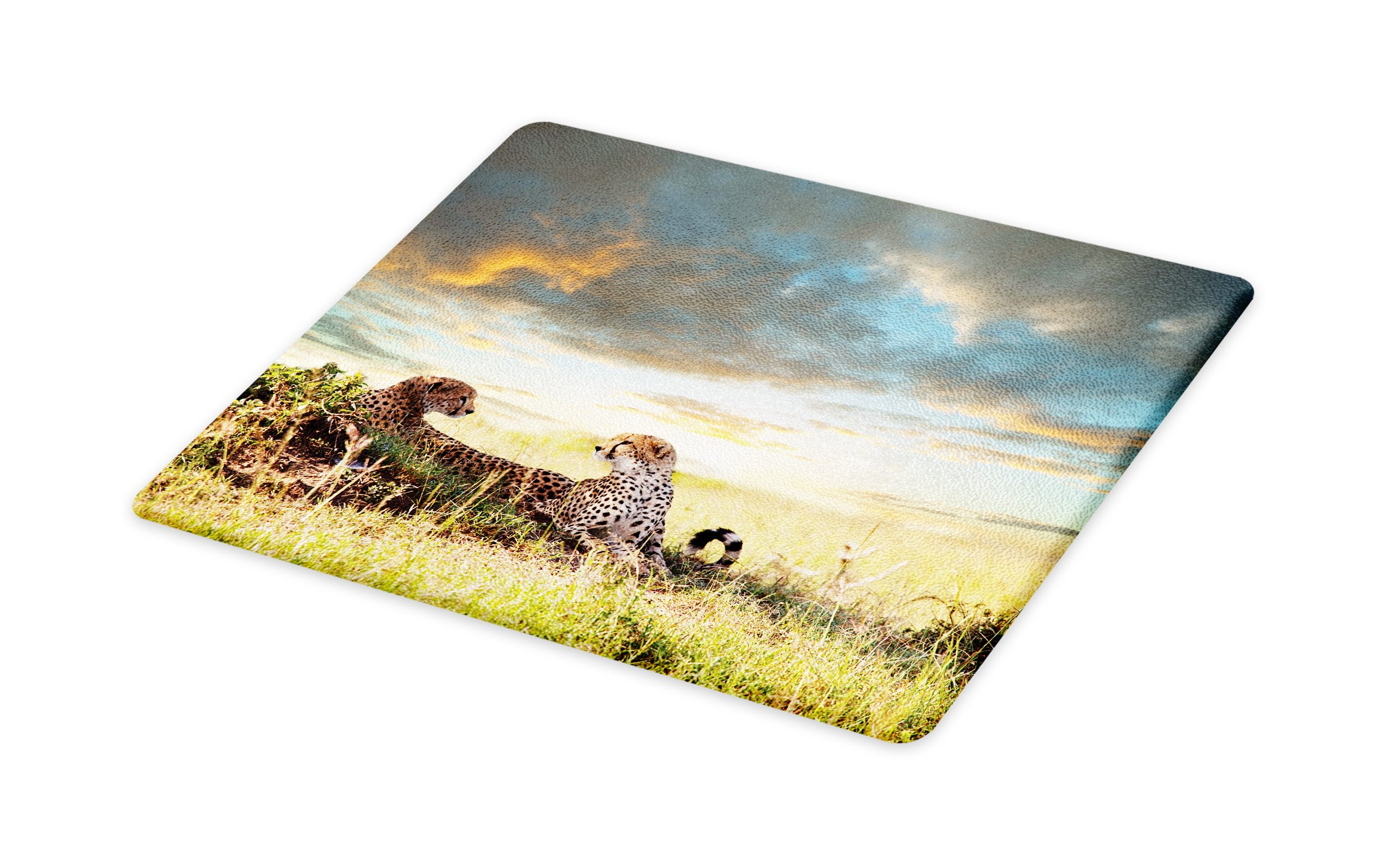 Lunarable Safari Cutting Board, Two Cheetahs in Africa Nature Grass Dangerous Animals Hunters Rainy Weather Picture, Decorative Tempered Glass Cutting and Serving Board, Small Size, Multicolor