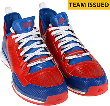 302a5782ce92f Kansas Jayhawks Team-Issued Adidas D Lillard 1 Red and Grey Shoes ...