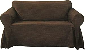 Decorative Sofa Textured Slipcover, Woven Design Couch Lounge (Brown, Sofa)