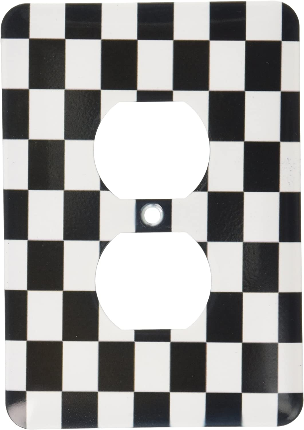 3dRose LLC 3dRose LLC lsp_154527_6 Check black and white pattern - checkered checked squares chess checkerboard or racing car race flag - 2 Plug Outlet Cover