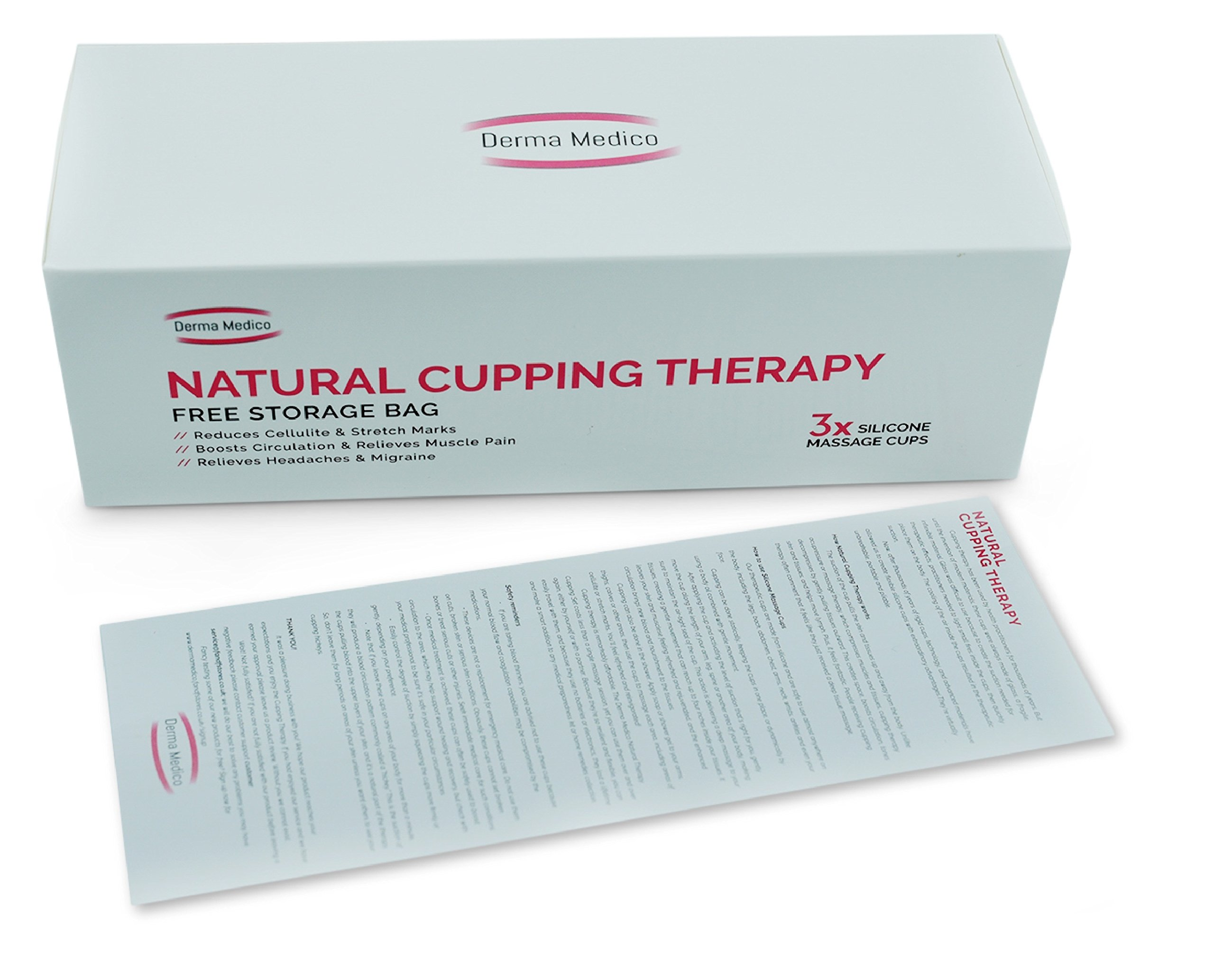 Derma Medico Silicone Body Massage Cups - Natural Cupping Therapy – Gift Box of 3 Vacuum Cups with FREE Storage Bag – Reduces Cellulite and Stretch Marks, For Relaxation and Relieves Stress