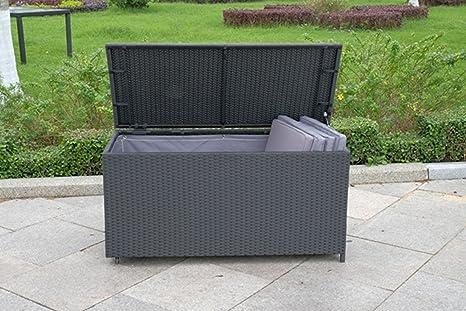 Uk Leisure World Rattan Plastic Garden Wicker Storage Box Cushions