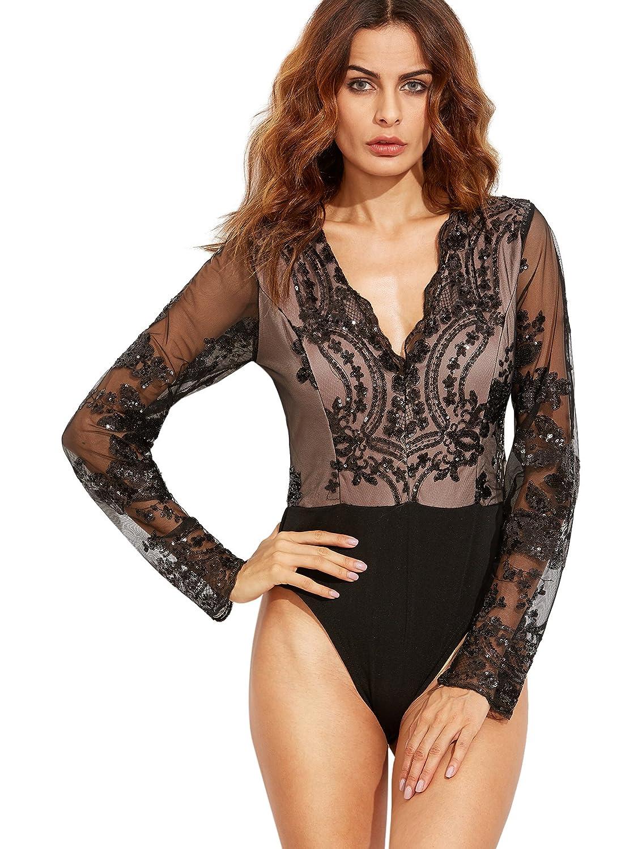 Amazon.com  Verdusa Women s Long Sleeve Deep V neck Sequin Mesh Bodysuit  Jumpsuit Black XS  Clothing d7dda945e