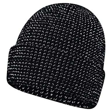 Mens Womens Unisex Pro Climate Reflective Turn Up Beanie Hat MA337 Black   Amazon.co.uk  Clothing bd4d464c7588