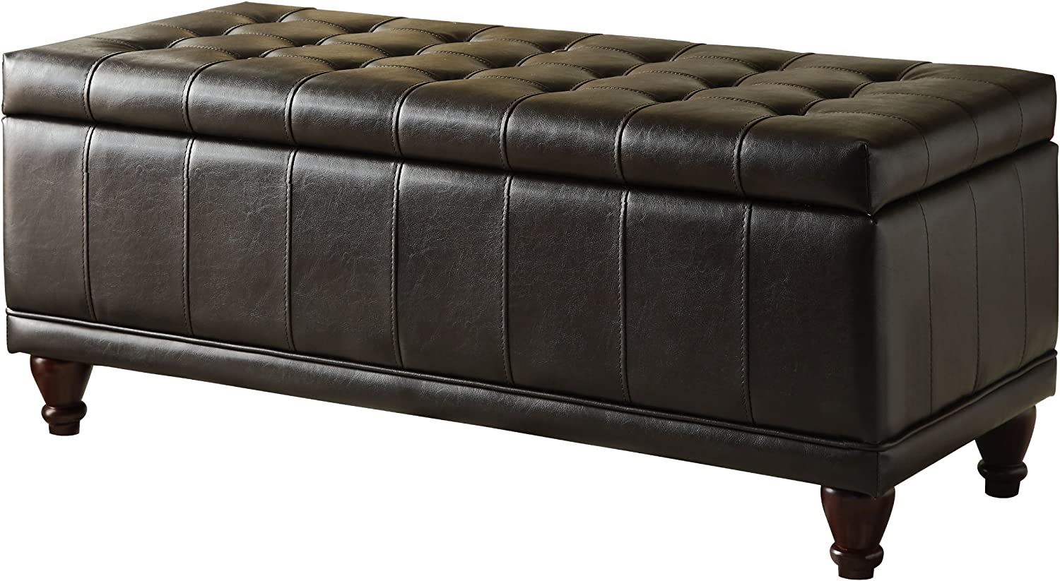 Homelegance Faux Leather Lift Top Storage Bench with Tufted Accents, Dark Brown