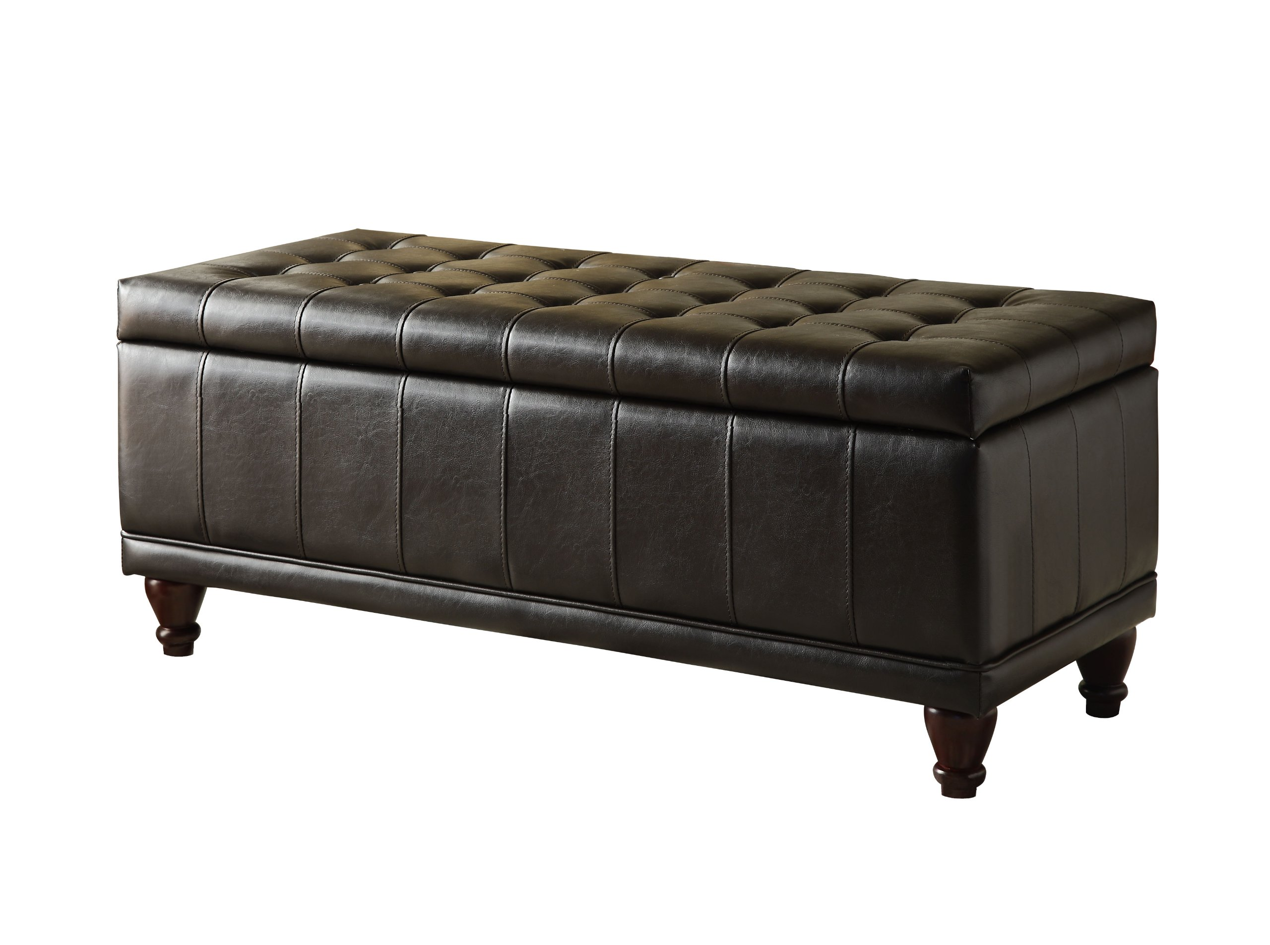 Homelegance 4730PU Lift Top Storage Bench with Tufted Accents, Dark Brown Faux Leather by Homelegance
