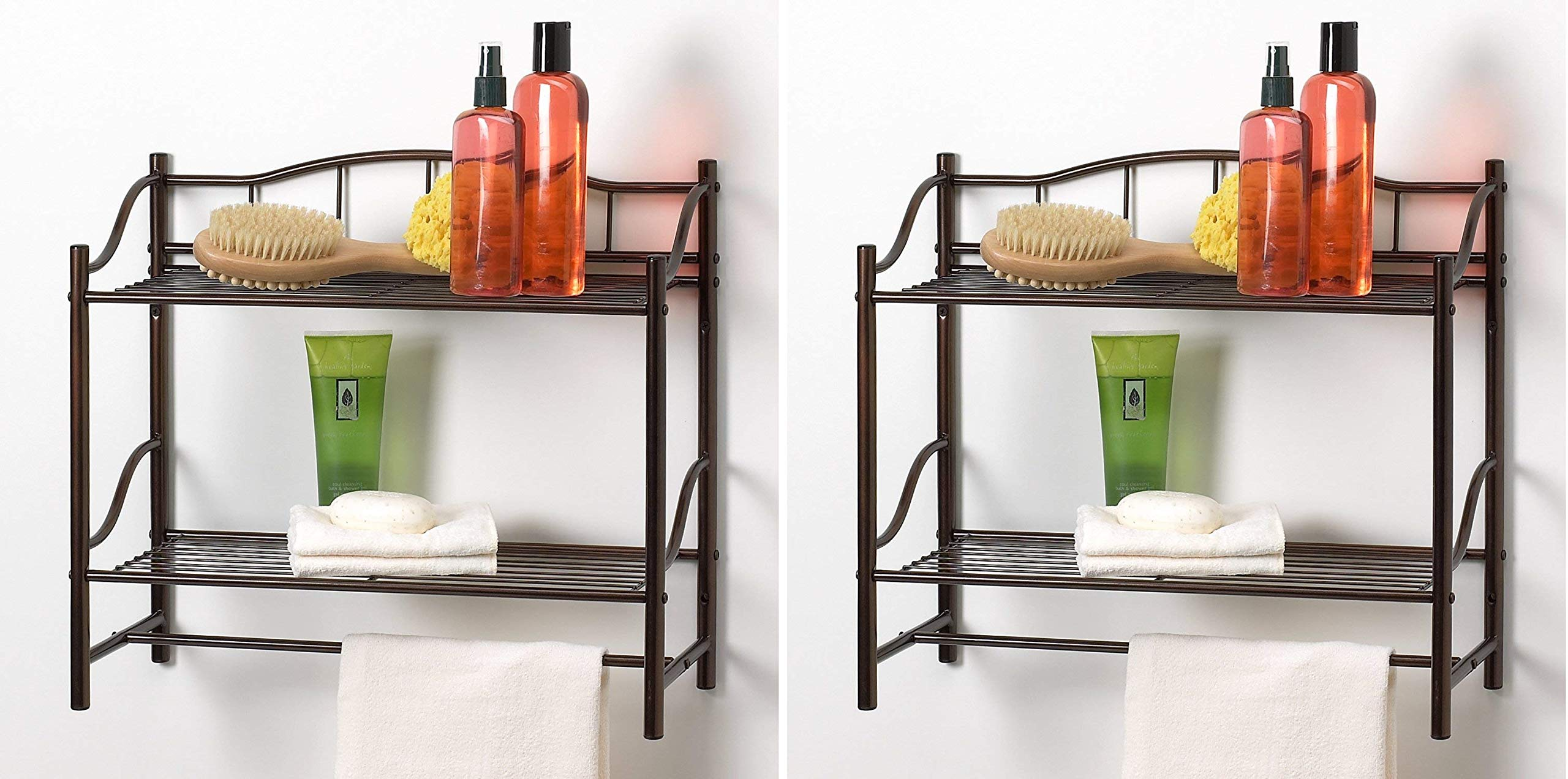 Creative Bath Products Complete Collection 2 Shelf Wall Organizer with Towel Bar, Oil Rubbed Bronze (Pack of 2)