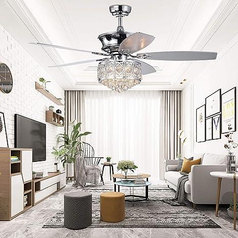 Amazon.com: Ventilador de techo de cristal con lámpara ...