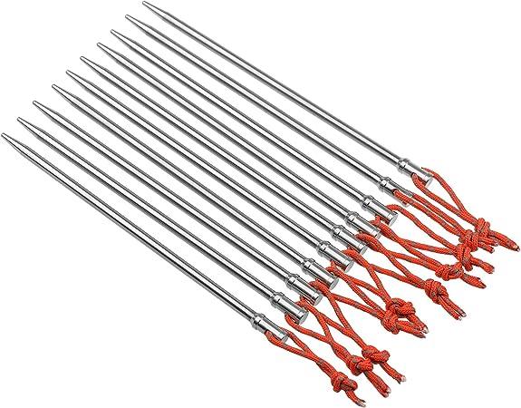 Tienda de titanio clavijas estacas gancho Camping Pin u/ñas tienda unidades 10 clavos