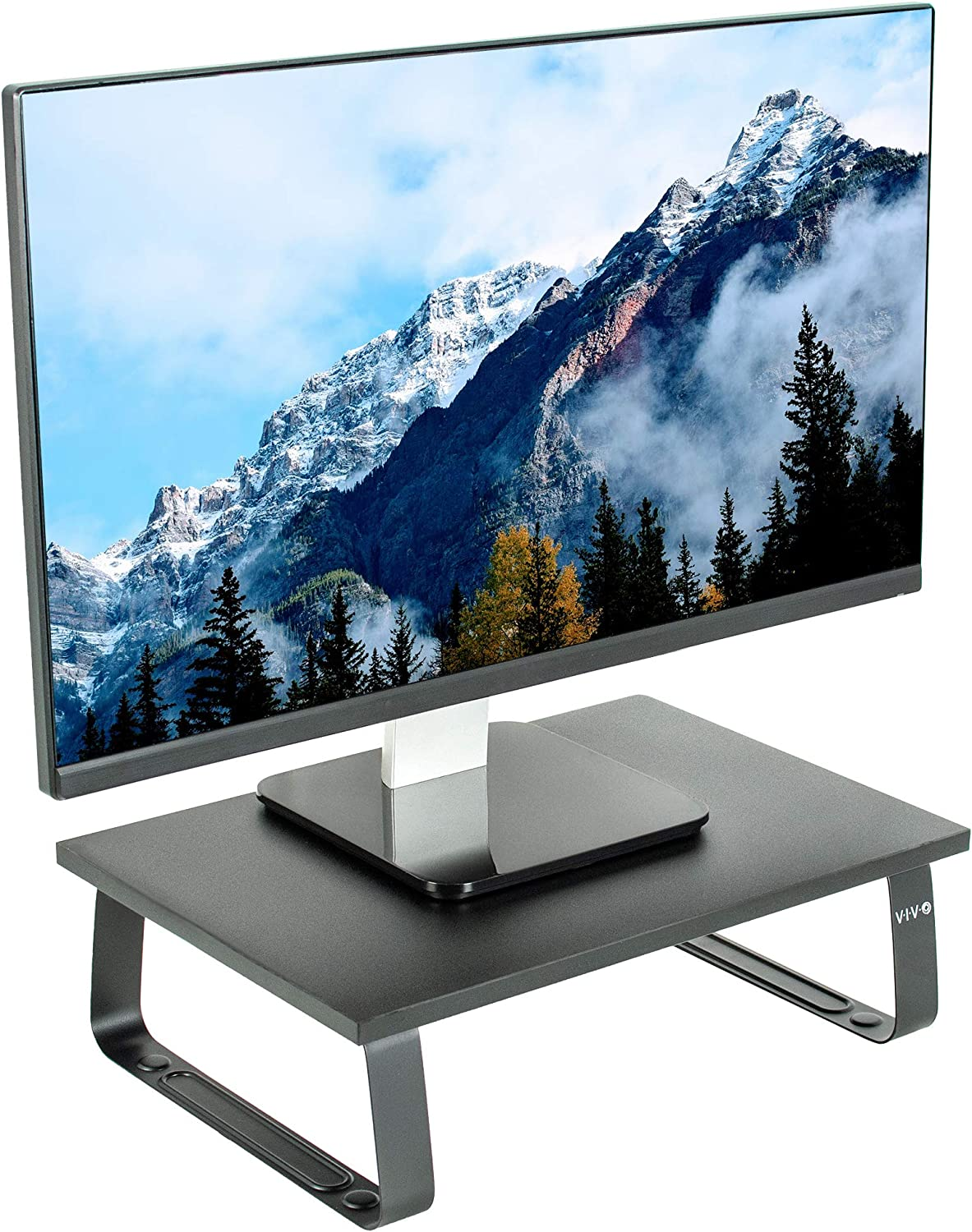 VIVO Black 15 inch Monitor Riser - Wood & Steel Desktop Stand | Ergonomic Desk and Tabletop Organizer (STAND-V000DS)