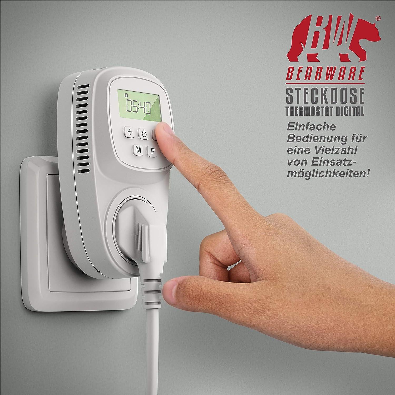 benutzeroptimierte Anleitung Steckdosen Thermostat f/ür Heizger/äte Infrarotheizungen Steckerthermostat Thermostat digital Frostw/ächter Backup Batterie energieeffizient 0,3W