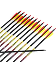 Misayar 12Pcs/lot 30 Inch Carbon Arrows Fletched 3 Inch Vane with Field Points for Recurve Compound Bow Targeting or Hunting
